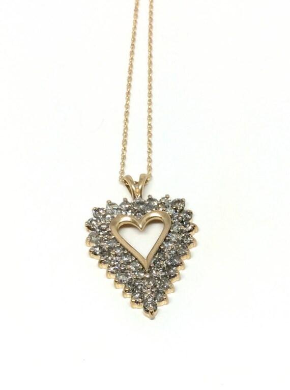 1//2Ct Coeur Rubis//Blanc Vrai Diamant 14K or sur Pendentif Chaîne Valentine cadeaux