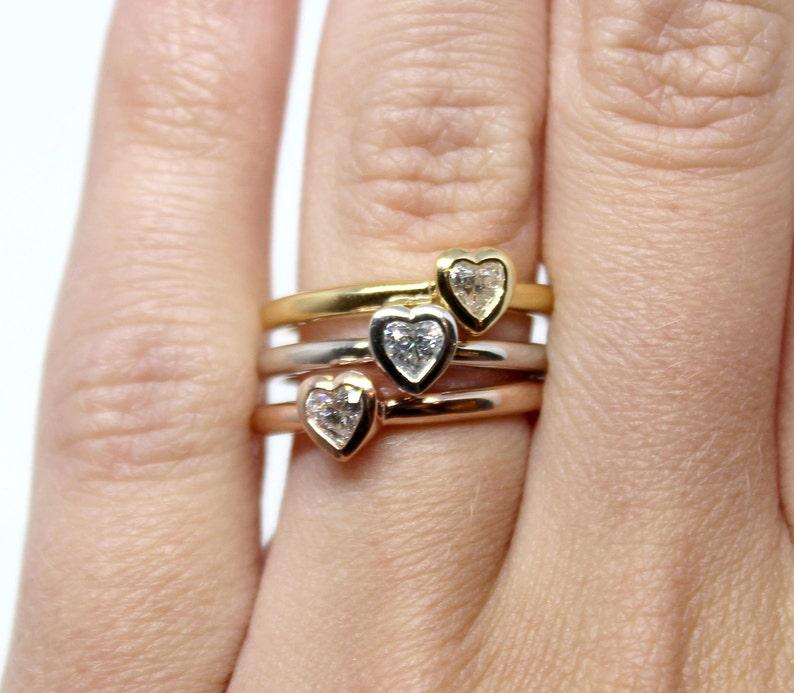 dcffd00a61 Heart shaped Diamond Bezel Set Custom Ring set in either 14k | Etsy