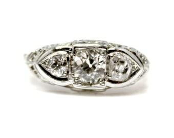 Sale! Art Deco White Gold Three Stone Diamond Ring (Approx 1ctw)