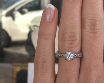14k White Gold Diamond Ring G SI1 approx 0.45ctw Engagement Ring Round