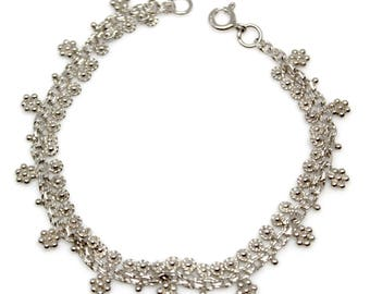 Sale! Silver bracelet or anklet with flowers