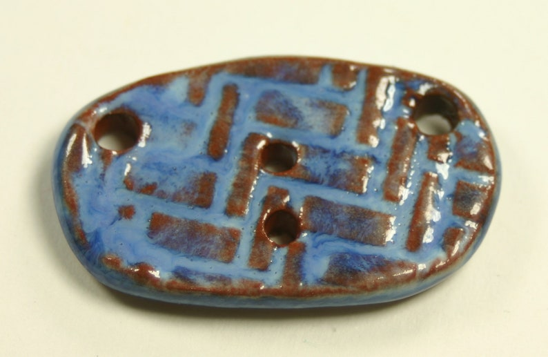 #B12 matching beads and buttons available rustic Ceramic focal 37mm x 22mm x 4.5mm, handmade by shop owner fully glazed textured