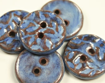 Handmade buttons, textured, 5 button set made by shop owner, 23.5mm x 5.0mm, hole size approx 2.5mm, mid-fired ceramic, fully glazed, 5 pcs