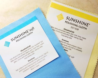 """Sunshine polishing cloth set, 2 standard size cloths in both Yellow and Blue, large 7.5"""" x 5"""" in resealable ziplock bag"""