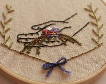 Handmade Embroidery Hoop - Hand with Flowers