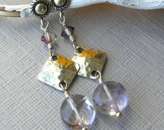Purple Amethyst Gemstone Dangle Earrings, February Birthstone Jewelry, Purple Earrings, Sterling Post Earrings, Post Dangle Earrings, Purple