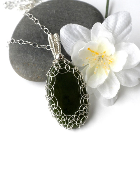 CLEARANCE Sterling Natural Canadian Jade Oval Pendant