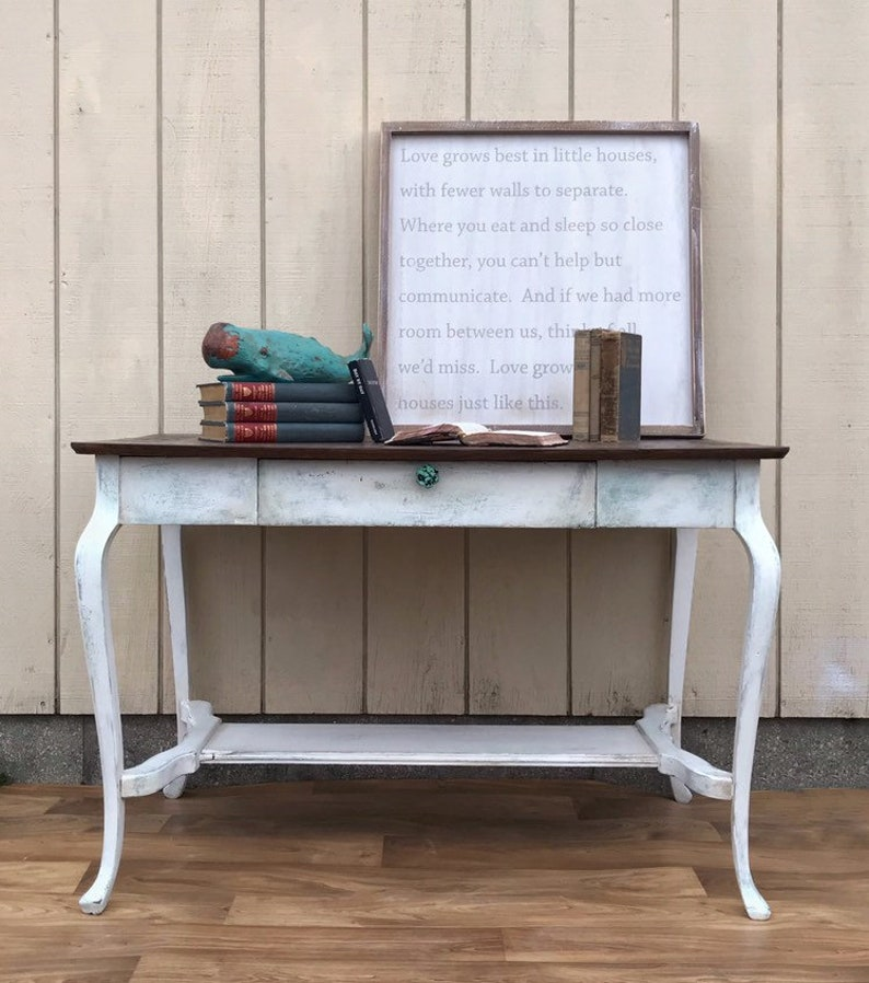 Vintage Library Table, Writing Desk, Sofa Table, Console, Wood Top, White