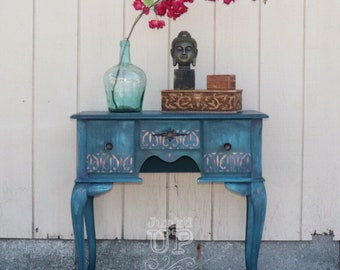 Boho blue, stenciled entry table, vanity, nightstand, small desk, global chic, bohemian