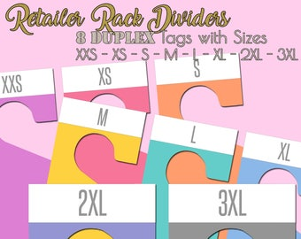 Retailer Clothing Rack Dividers - Set of 8 Double Sided - DIGITAL FILES