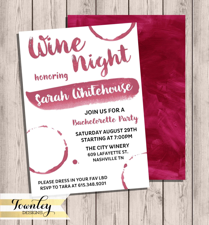 Bachelorette Party Invitation Wine Night Wine Party | Etsy