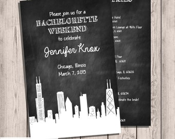 Chicago Skyline Bachelorette Party Invitation, Itinerary Double-Sided, 5x7, Chalkboard Invitation, Chicago Skyline