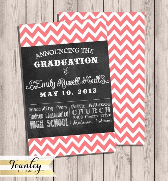 Graduation invitation grad invite customized chevron etsy image 0 filmwisefo