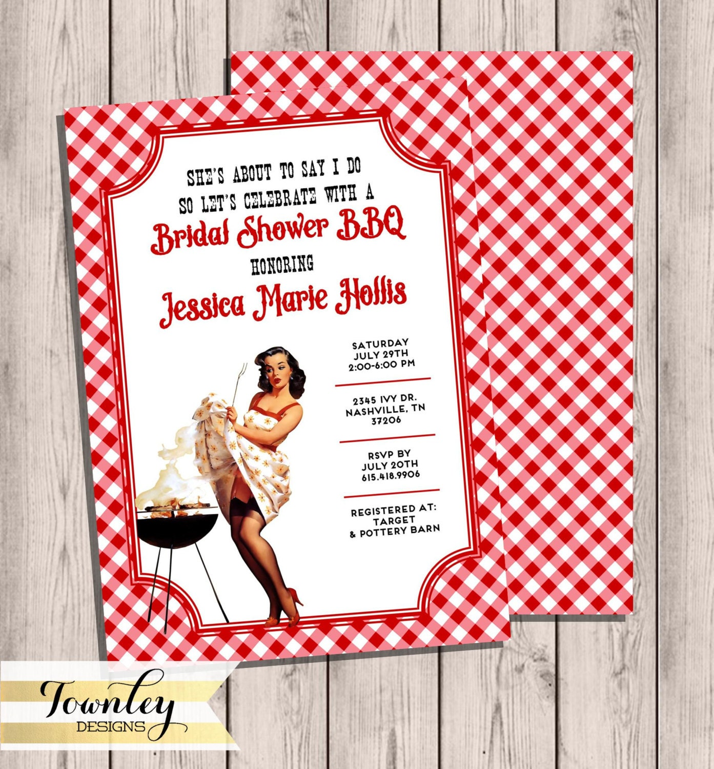 Bridal Shower Invitation BBQ Party Bridal Shower BBQ Pinup | Etsy