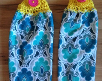 Hanging Towels - Set of 2 - Crocheted Top