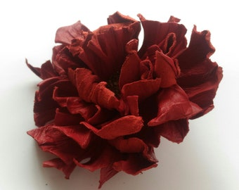 Leather flower brooch, Leather pin, accessories, leather hair accessories, brooch pin, red flower brooch, natural, unique, art jewelry