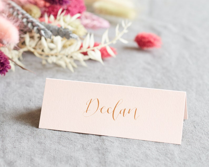 Personalised Place Card Calligraphy Name Card Vellum White Coloured Tent Card Minimal Wedding Name Card Hand Lettered Place Card Classic