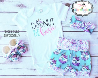 Unicorn Donut HTV Outfit - Grow With Me Shorties - Donut Unicorn Sprinkle Outfit - Knot Headband