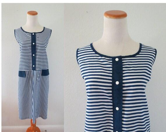 Vintage Sundress Striped Cotton Tank Dress