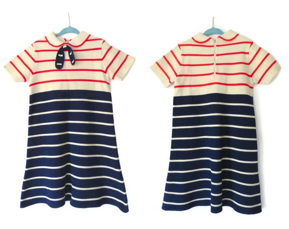 Vintage Girl's Sailor Dress / Girl's Mod Dress / Nautical Dress / Little Girl's 60's Dress / Peter Pan Collar / 1960's Girl's Dress