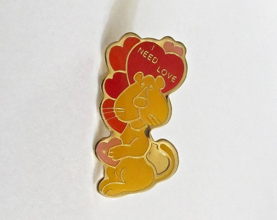 60's Enamel Pin / I Need Love Pin / Mod Pin / 1960's Valentine Brooch / Lion Pin / Kitschy Enamel Pin