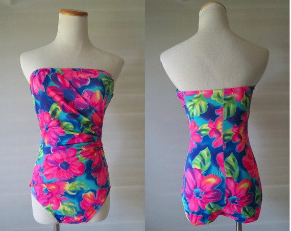 Strapless Bathing Suit 90's One Piece Floral Swimsuit 1990's Neon Flower Print Wrap Style Size Small S Medium M Bandeau Swimwear