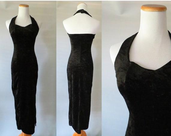 Black Velvet Dress / Velvet Maxi Dress / Black Halter Dress / All That Jazz Dress / Goth Dress / 90's Velvet Dress / Size XS Small / Prom