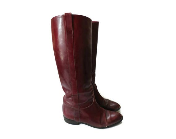 70's Leather Boots / Leather Riding Boots / Size 7 / Burgundy Boots / Flat Boots / Maroon Boots / 1970's Shoes
