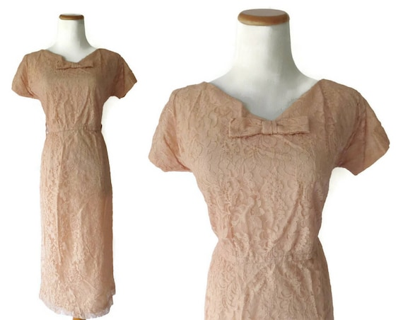 Pink Lace Dress 50s Bow Dress 1950s Peach Midi 1950s Dusty Pink Wedding Cocktail Party Bridesmaid Formal Size Medium M
