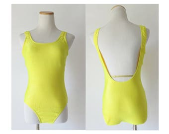 Yellow Swimsuit 80s Bathing Suit 1980s One Piece Maillot Ribbed Low Cut Back Catalina Size Medium M
