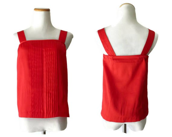 Red Camisole Top / 70's Strappy Blouse / 1970's Red Tank Top / Size Small / Red Cami / Boho Hippie Top