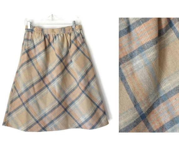 Plaid Midi Skirt / 70's Plaid Skirt / High Waisted Skirt / Wool Plaid Skirt / A-line Plaid Skirt / Size Medium / Preppy Skirt