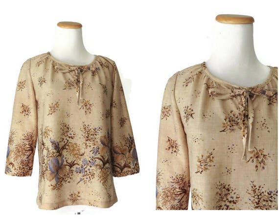 70s Tunic Top 1970s Blouse Boho Hippie Brown Floral Long Sleeves Size Small S Polyester Shirt Beige Blue Flower Print