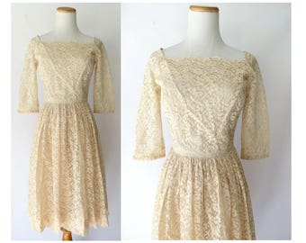 Lace Wedding Dress 50s Cream Dress 1950s Modest Casual Bridal Bridesmaid Off White Size Small S 1960s 60s