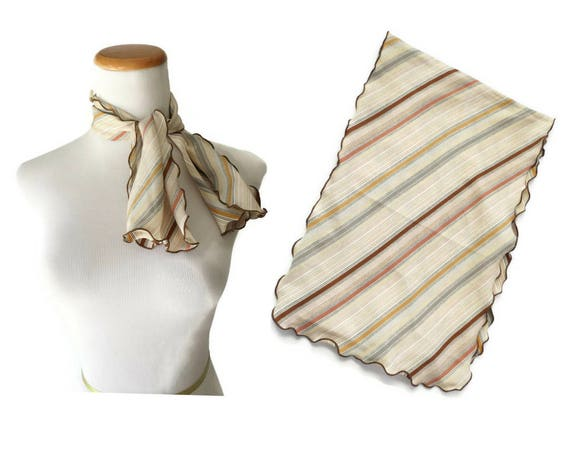 Vintage Striped Scarf / 70's Scarf / Scalloped Edges / Earth Tones Scarf / Boho Hippie Scarf / Hair Accessory / Gift for Her