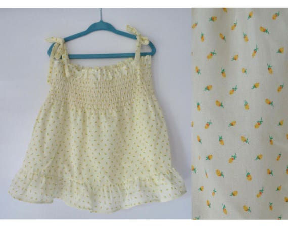 Girls Tank Top Smocked Blouse 1970s 70s Shoulder Tie Pastel Yellow Floral Print Size 3