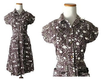 Atomic Print Dress 50s Day Dress 1950s Mid Century Cotton Shirtwaist 60s 1960s Brown White Abstract Geometric Pockets XS Small S Kenrose