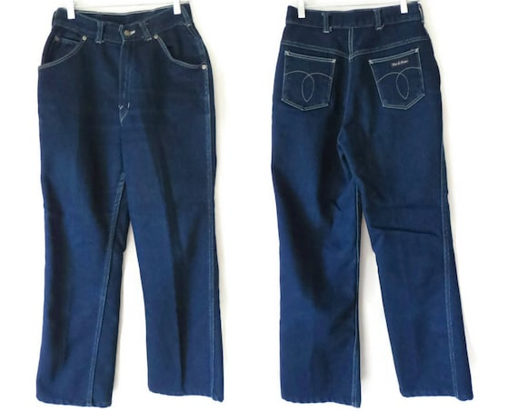 """70s Flare Jeans High Waisted Denim Jeans Size Small 27"""" Waist 1970s Dark Blue Wash Tour De France High Rise 1980s 80s"""