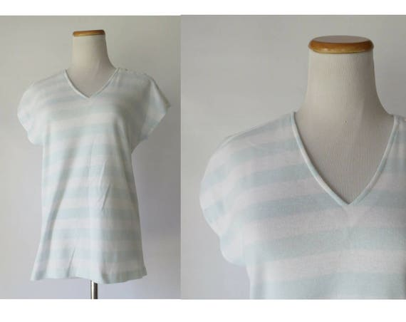 Pastel Green Top / Mint Green Blouse / Striped Dolman Top / 80's Blouse / Janzten Top / Size Medium / Super Soft Shirt