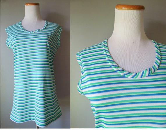 70s Tank Top Striped Sleeveless Blouse
