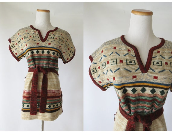 Space Dye Sweater / Hippie Tunic / Space Dyed Top / Boho Tunic / 70's Sweater / Short Sleeved Sweater / Earth Tones / Size Medium