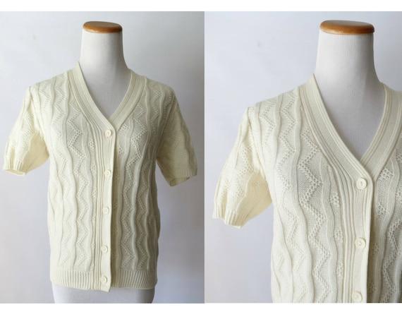 Cream Cardigan Sweater / Short Sleeve Cardigan / 70's Sweater / Boho Shrug / Hippie Sweater / Size Small