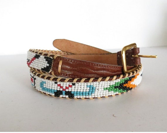 Native American Belt / Seed Bead Belt / Indian Belt / Thunderbird Belt / Leather Souvenir Beaded Belt / Size Medium Large