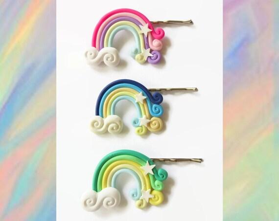 Rainbow Hair Pin Bobby Pin Clip Kawaii Barrette Rainbows Clouds Pastel Hair Accessory Polymer Clay Fairy Kei Rave Cute