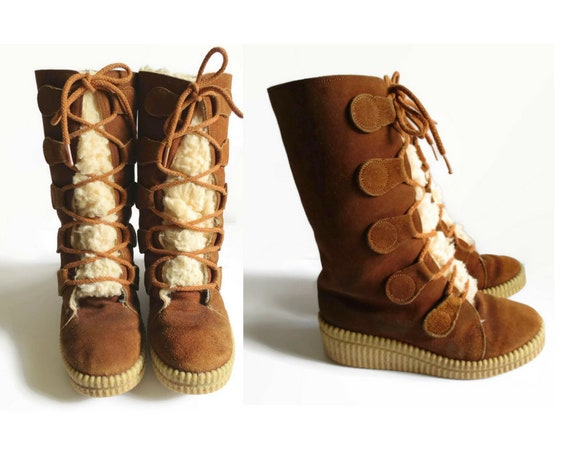 Lace Up Boots / 70's Suede Boots / Shearling Boots / Platform Trapper Boots / Size 6 / 1970's Winter Boots / Boho Hippie Boots