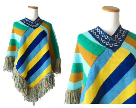 Hippie Poncho Sweater / Striped Knit Cape / 70's Poncho / 1970's Sweater / Rainbow Sweater / Fringe Poncho / Size Small Medium