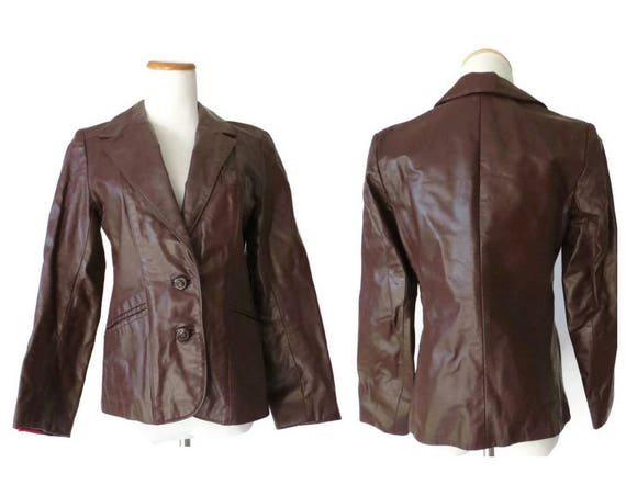 70's Leather Jacket / 1970's Leather Blazer / Hippie Coat / Boho Leather Jacket / Size Small / 1970's Leather Jacket