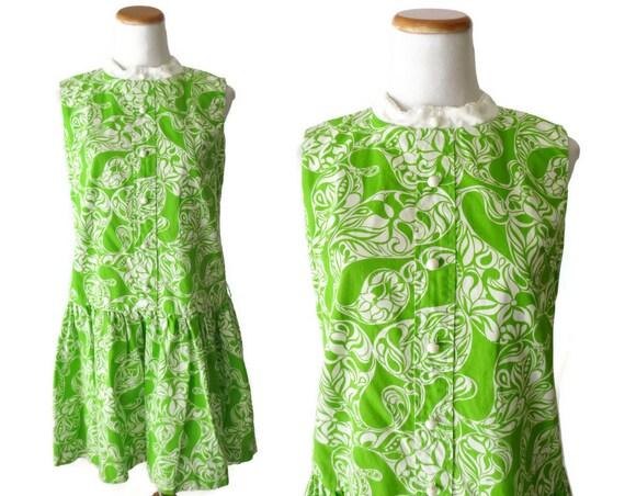 Mod Scooter Dress 1960's Mini Dress Drop Waist 60's Dress Sleeveless Lime Green Psychedelic Size Medium M