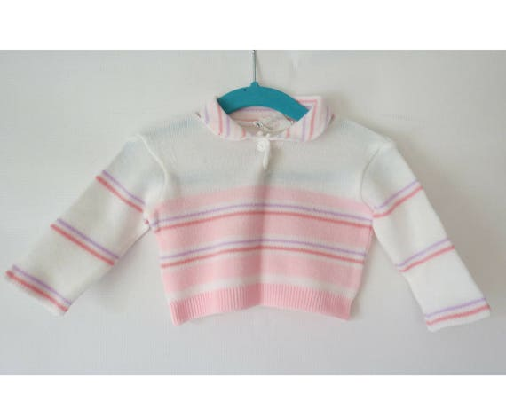 Baby Girl's Sweater Pastel Pink Purple Striped Long Sleeve Top 0 - 6 Months 70s 1970s Made in Japan Baby Clothes Clothing