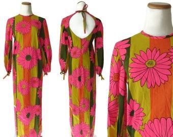 Flower Power Dress Mod Floral Maxi Dress Neon Psychedelic Hippie Flower Child Long Dress 1960s 60s 1970s 70s Small Medium